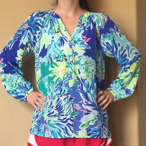 Nwot Lilly Pulitzer reef 100% silk top